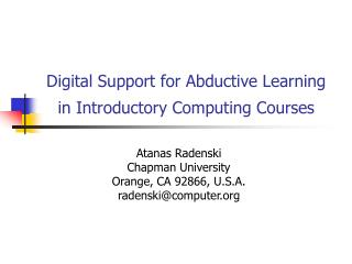 Digital Support for Abductive Learning  in Introductory Computing Courses
