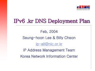 IPv6 .kr DNS Deployment Plan