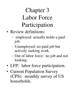 Chapter 3  Labor Force Participation