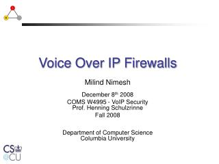 Voice Over IP Firewalls