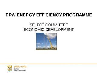 DPW ENERGY EFFICIENCY PROGRAMME SELECT COMMITTEE ECONOMIC DEVELOPMENT