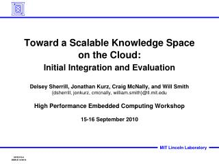 Toward a Scalable Knowledge Space on the Cloud: Initial Integration and Evaluation