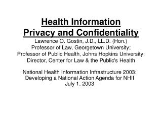 Institute of Medicine on the National Health Information Infrastructure