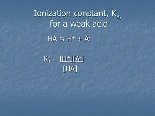 Ionization constant, K a,  for a weak acid