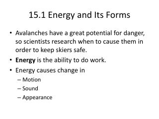 15.1 Energy and Its Forms