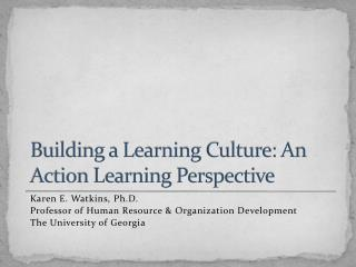 Building a Learning Culture: An Action Learning Perspective