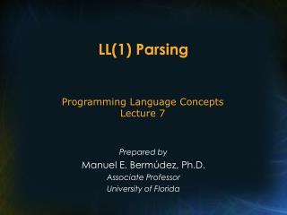 LL(1) Parsing