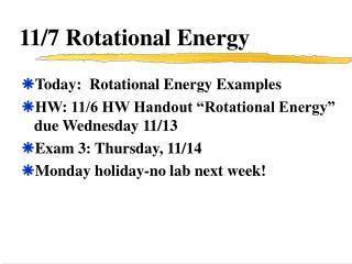 11/7 Rotational Energy