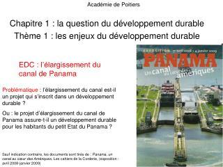 Chapitre 1 : la question du développement durable Thème 1 : les enjeux du développement durable