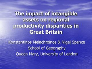 The impact of intangible assets on regional productivity disparities in Great Britain
