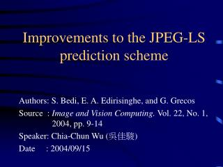 Improvements to the JPEG-LS prediction scheme