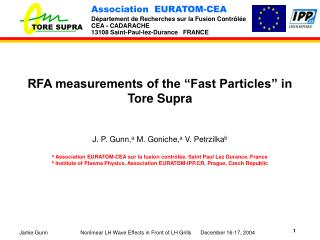 "RFA measurements of the ""Fast Particles"" in Tore Supra"