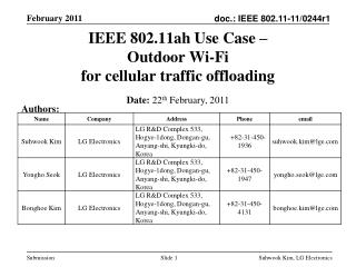 IEEE 802.11ah Use Case �  Outdoor Wi-Fi  for cellular traffic offloading