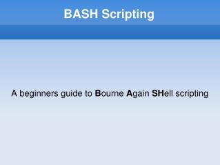 BASH Scripting