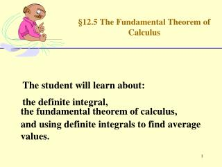 �12.5 The Fundamental Theorem of Calculus