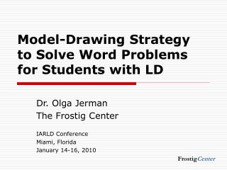 Model-Drawing Strategy to Solve Word Problems for Students with LD