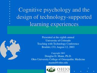 Cognitive psychology and the design of technology-supported learning experiences