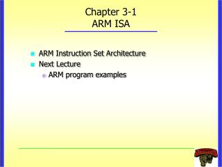 Chapter 3-1 ARM ISA