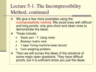 Lecture 5-1. The Incompressibility Method, continued