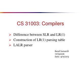 CS 31003: Compilers