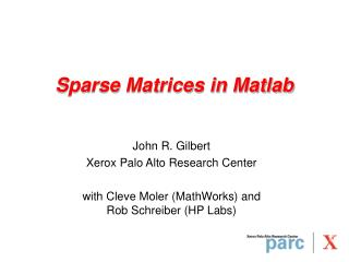 Sparse Matrices in Matlab