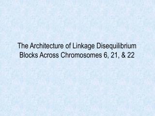 The Architecture of Linkage Disequilibrium Blocks Across Chromosomes 6, 21, & 22