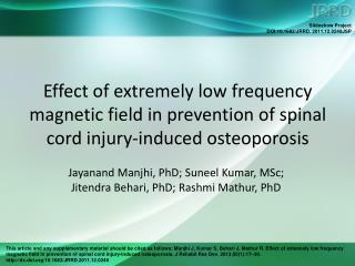 Jayanand Manjhi, PhD; Suneel Kumar, MSc;  Jitendra Behari, PhD; Rashmi Mathur, PhD