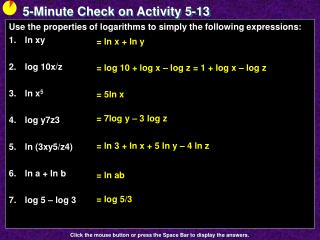 5-Minute Check on Activity  5-13