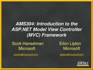 AMS304: Introduction to the ASP Model View Controller MVC Framework