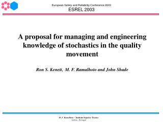 European Safety and Reliability Conference 2003 ESREL 2003