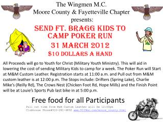 The Wingmen M.C.  Moore County & Fayetteville Chapter   presents: