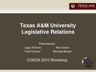 Texas A&M University Legislative Relations