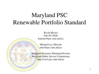 Maryland PSC Renewable Portfolio Standard
