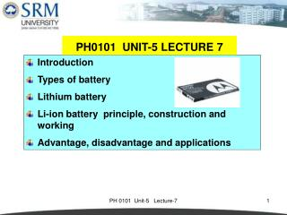 Introduction Types of battery Lithium battery Li-ion battery  principle, construction and working
