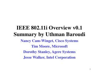 IEEE 802.11i Overview v0.1 Summary by Uthman Baroudi
