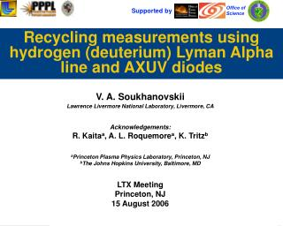 Recycling measurements using hydrogen (deuterium) Lyman Alpha line and AXUV diodes