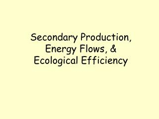 Secondary Production, Energy Flows, &  Ecological Efficiency