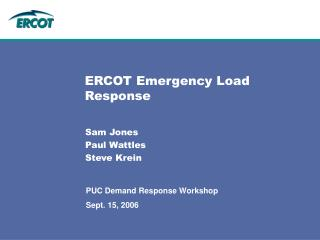 ERCOT Emergency Load Response