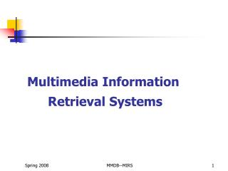 Multimedia Information  Retrieval Systems