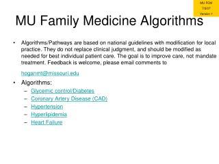 MU Family Medicine Algorithms
