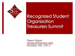 Recognized Student Organization  Treasurers Summit