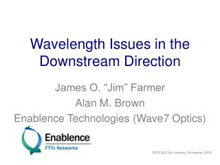 Wavelength Issues in the Downstream Direction
