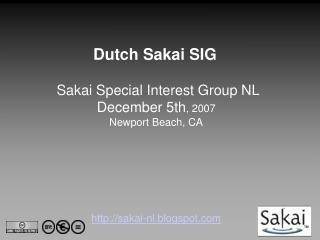 Dutch Sakai SIG