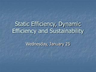 Static Efficiency, Dynamic Efficiency and Sustainability