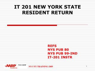 IT 201 NEW YORK STATE  RESIDENT RETURN