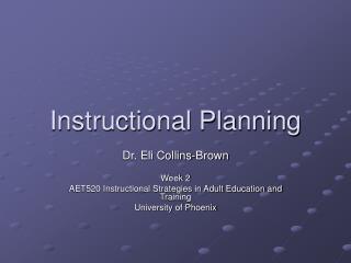 Instructional Planning