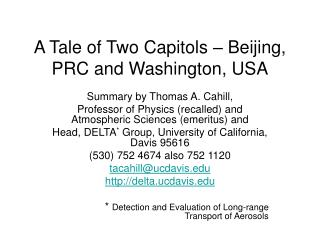 A Tale of Two Capitols – Beijing, PRC and Washington, USA