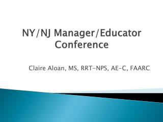 NY/NJ Manager/Educator Conference