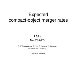 Expected   compact-object merger rates