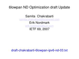 6lowpan ND Optimization draft Update